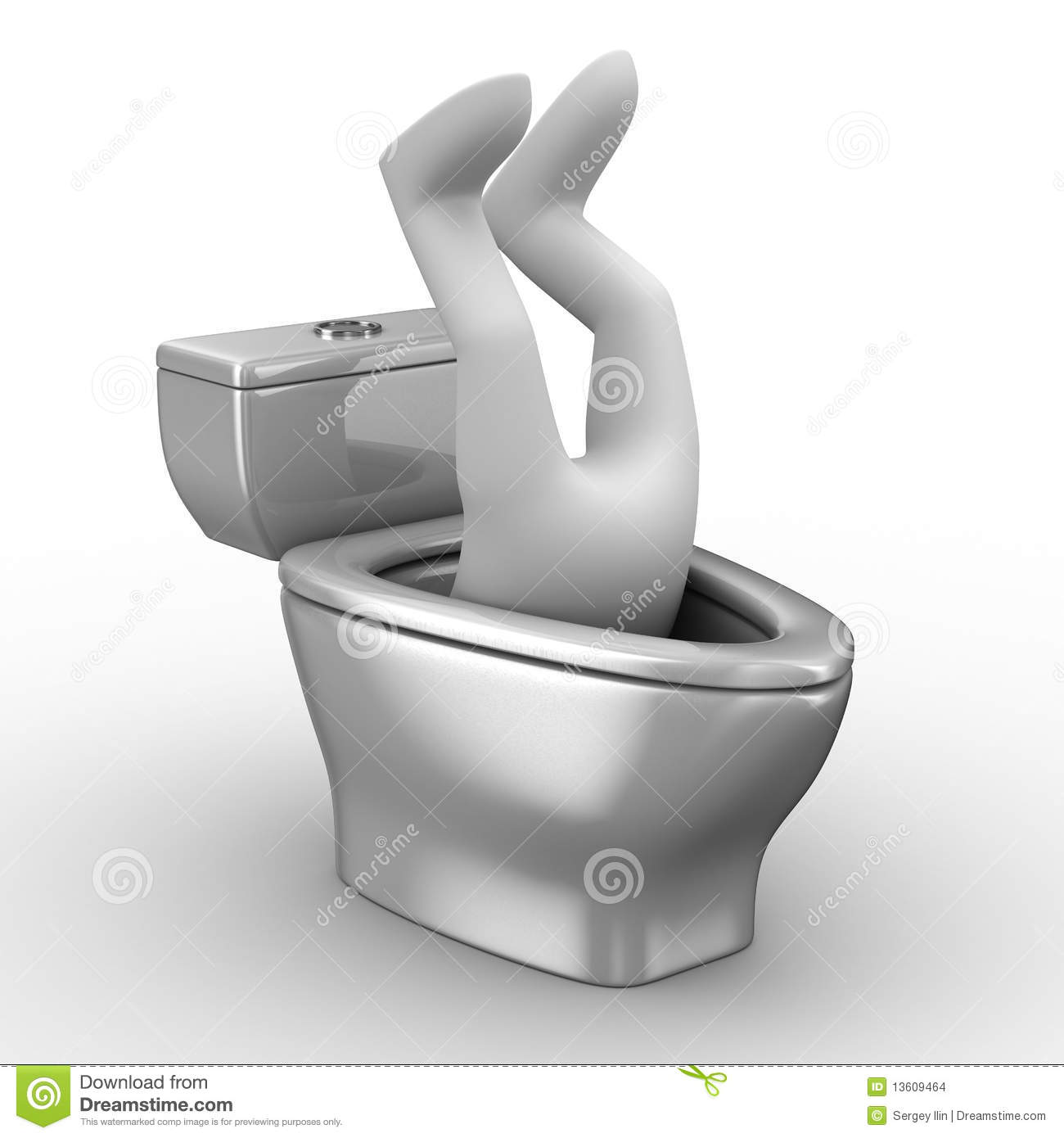 Man Into Toilet Bowl Stock Images Image 13609464