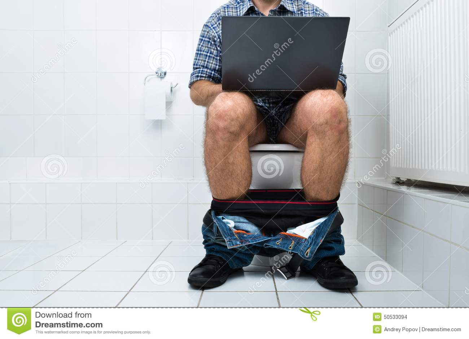 Man In Toilet Using Laptop Stock Photo Image Of