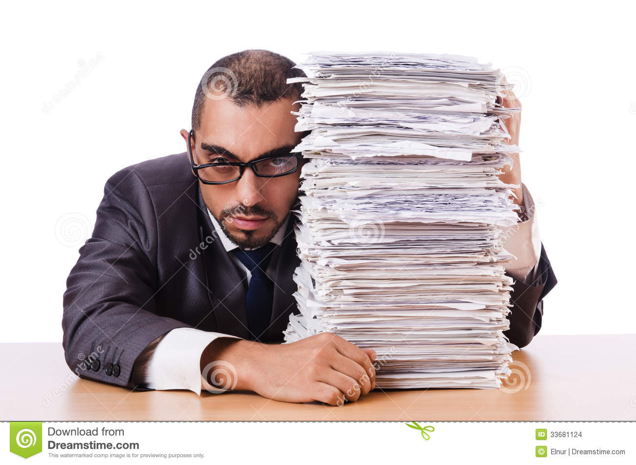 Man with too much work