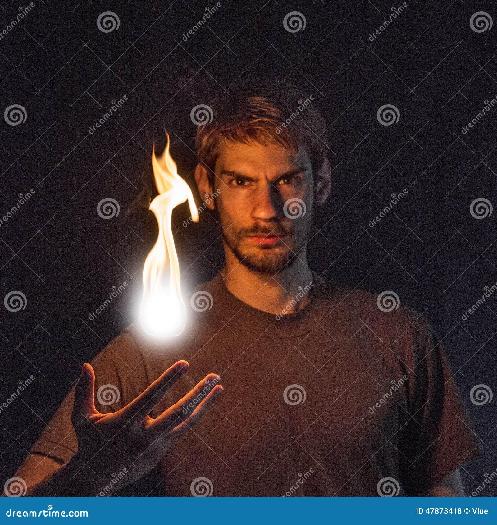 Man Tossing Fire Ball
