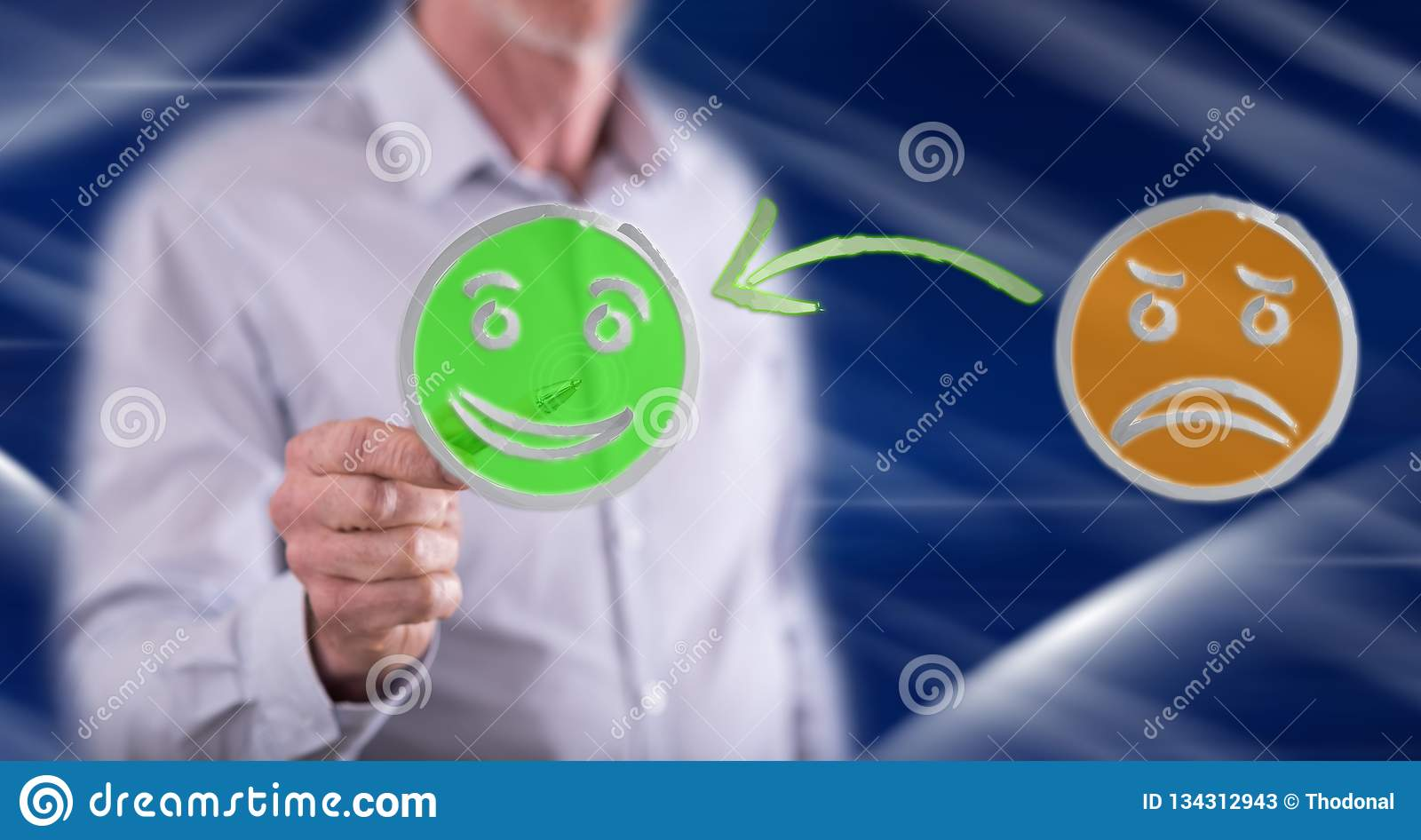 Man touching a customer satisfaction concept