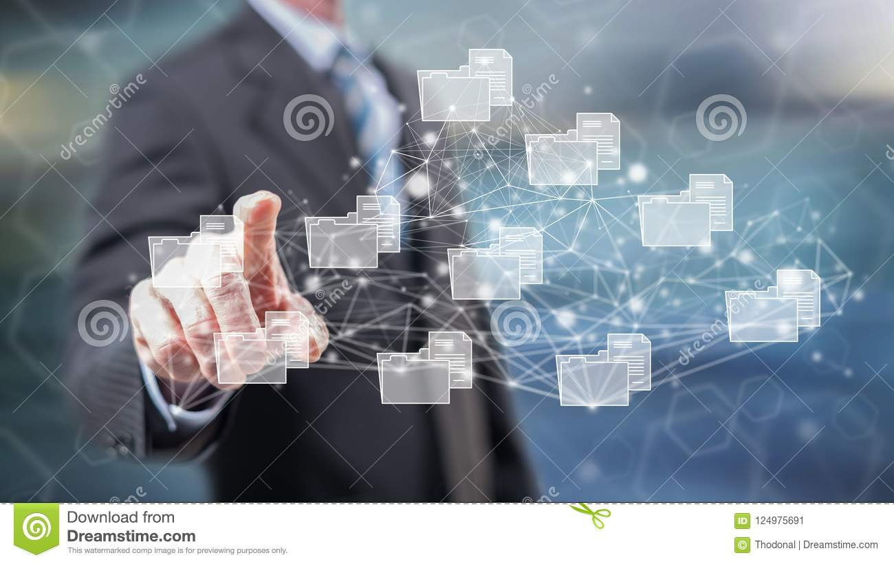 Man touching a data connection concept