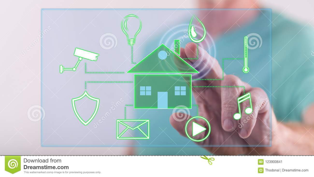 Man Touching A Digital Smart Home Automation Concept Stock Image ...