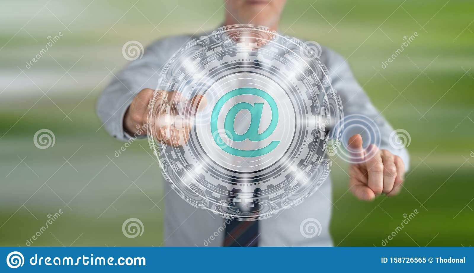 Man touching an email concept