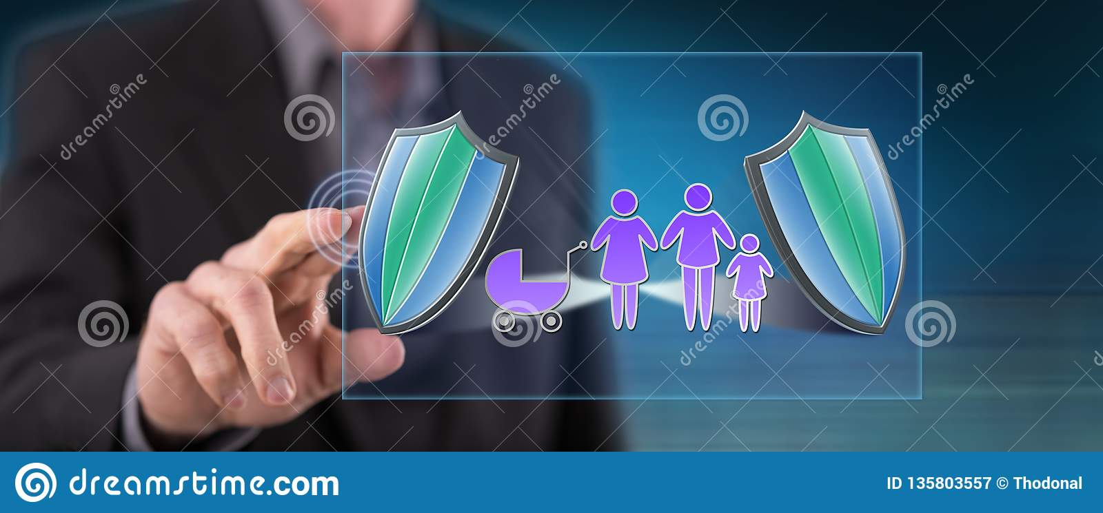 Man touching a family insurance concept