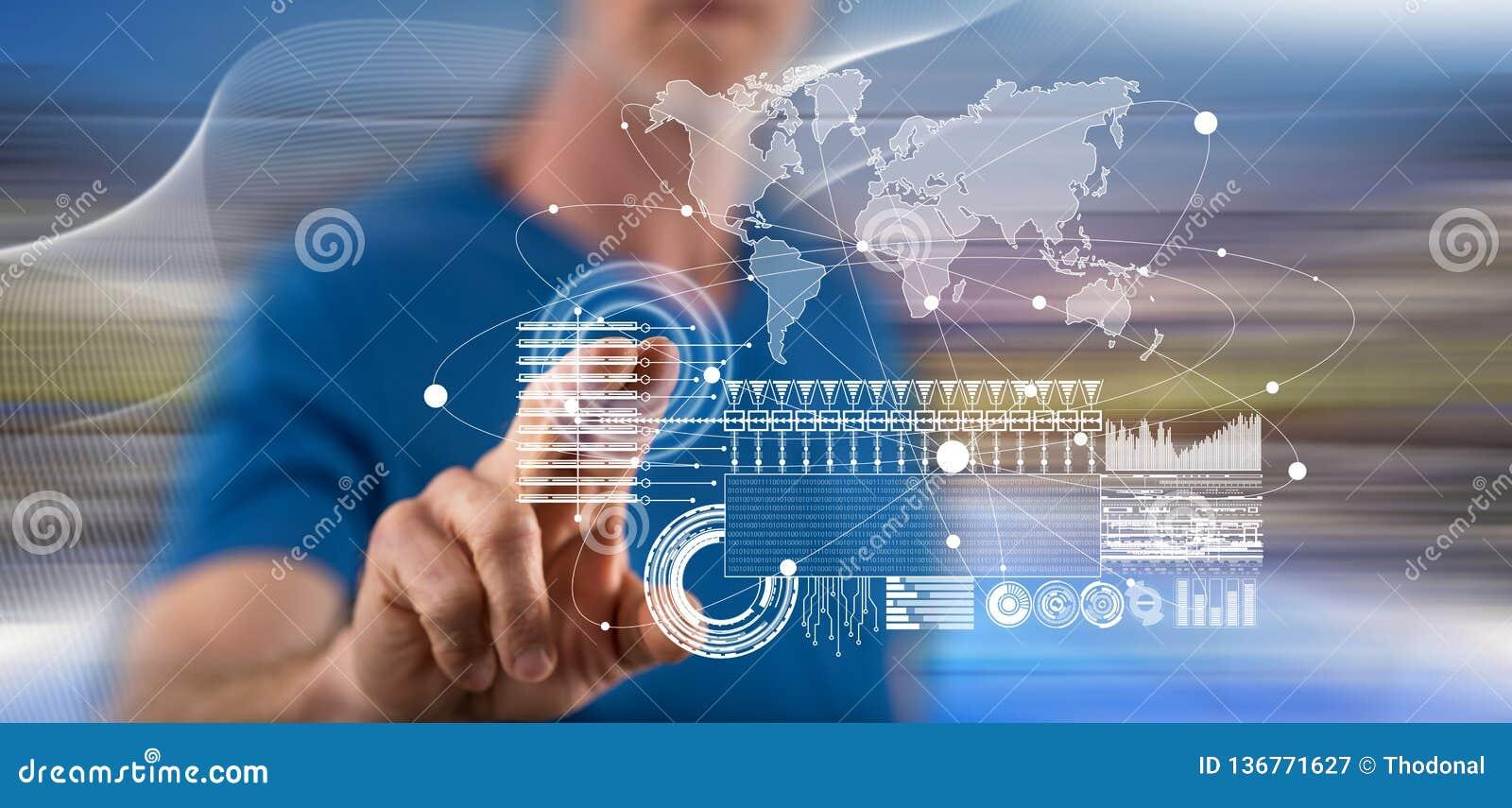 Man touching a global business digital interface concept