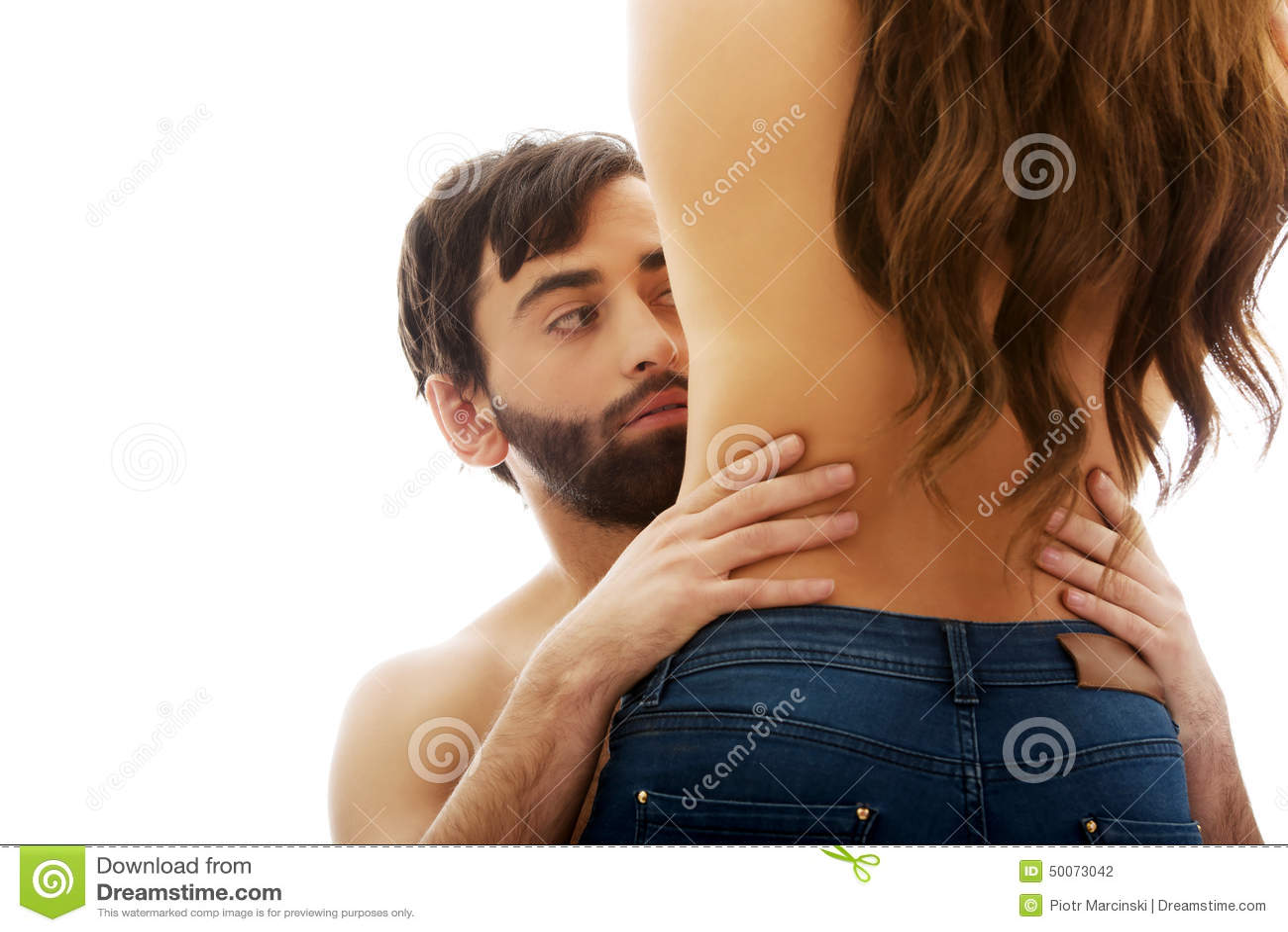 Man touching silm woman s waist.