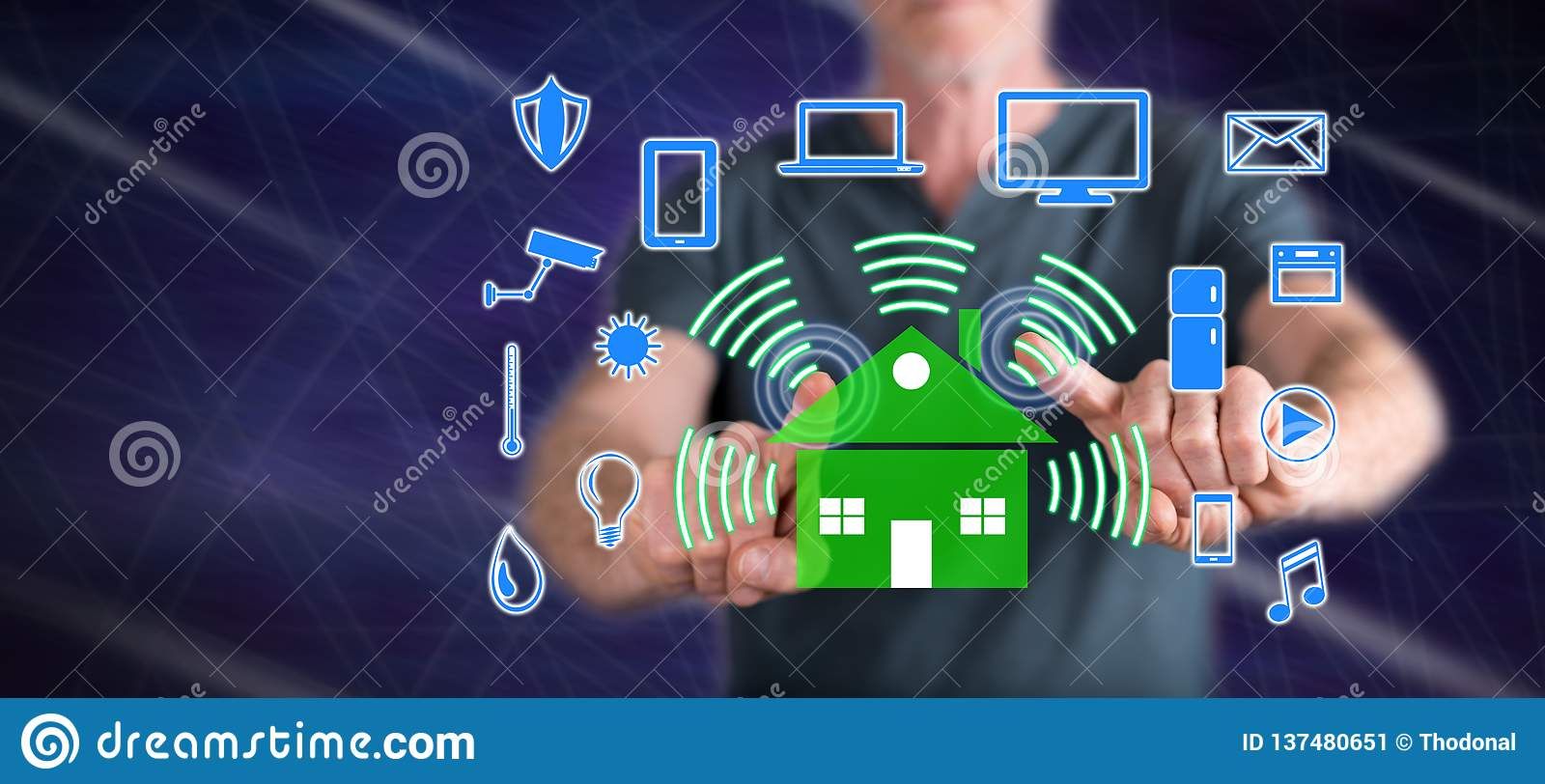 Man touching a smart home concept. On a touch screen with his fingers stock image