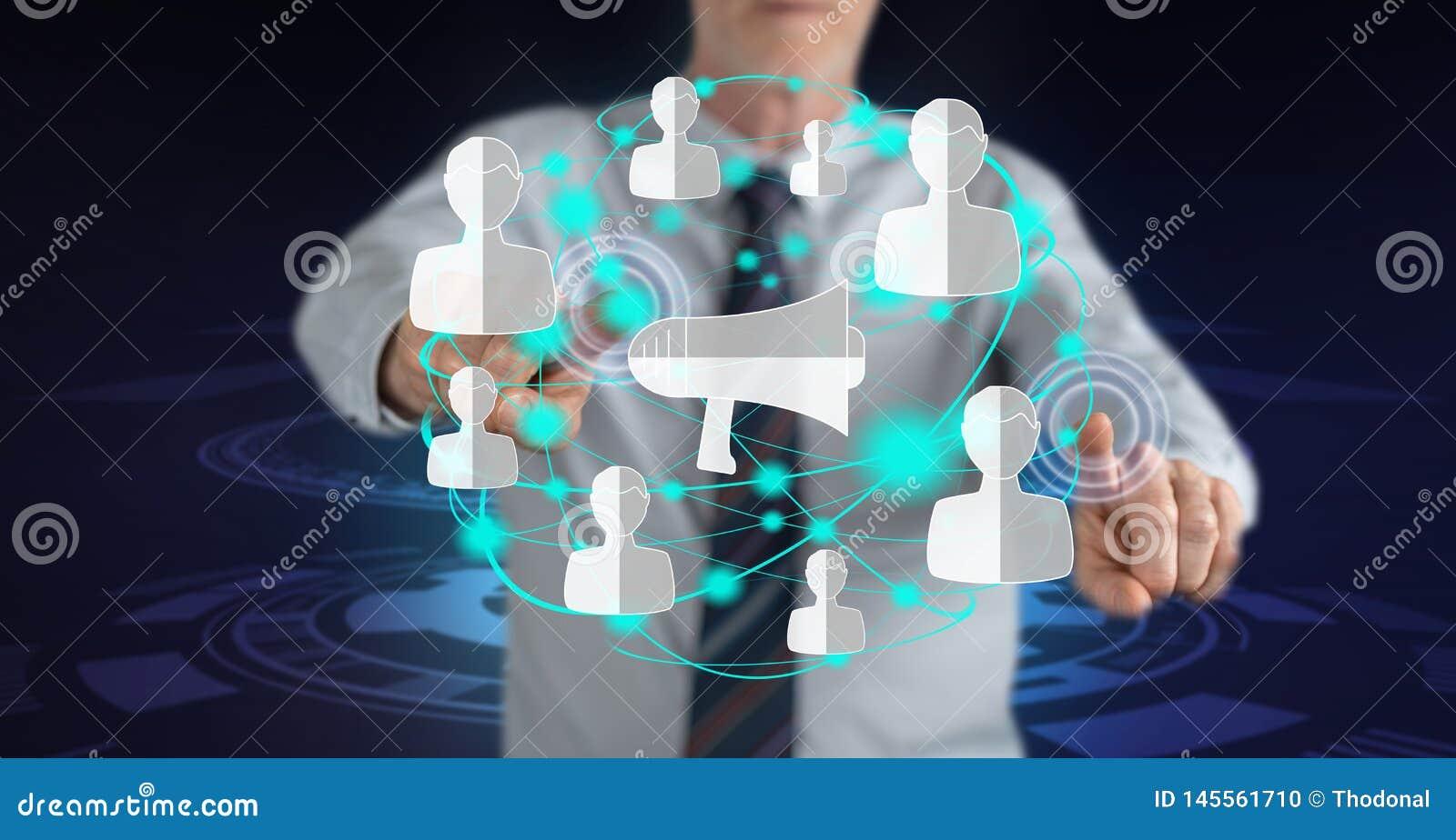 Man touching a social marketing concept