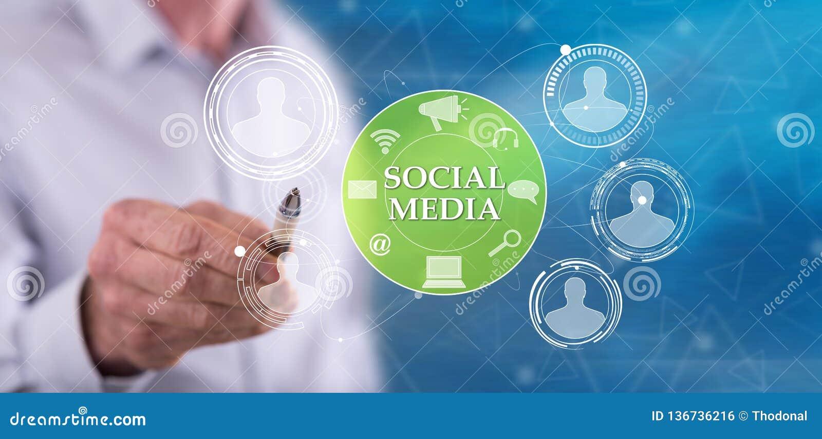 Man touching a social media concept