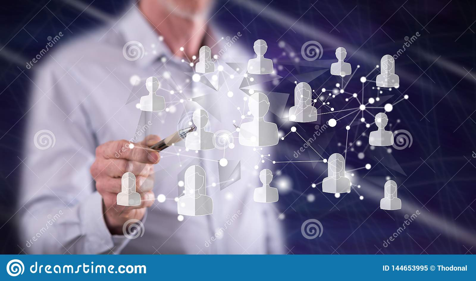 Man touching a social media network concept