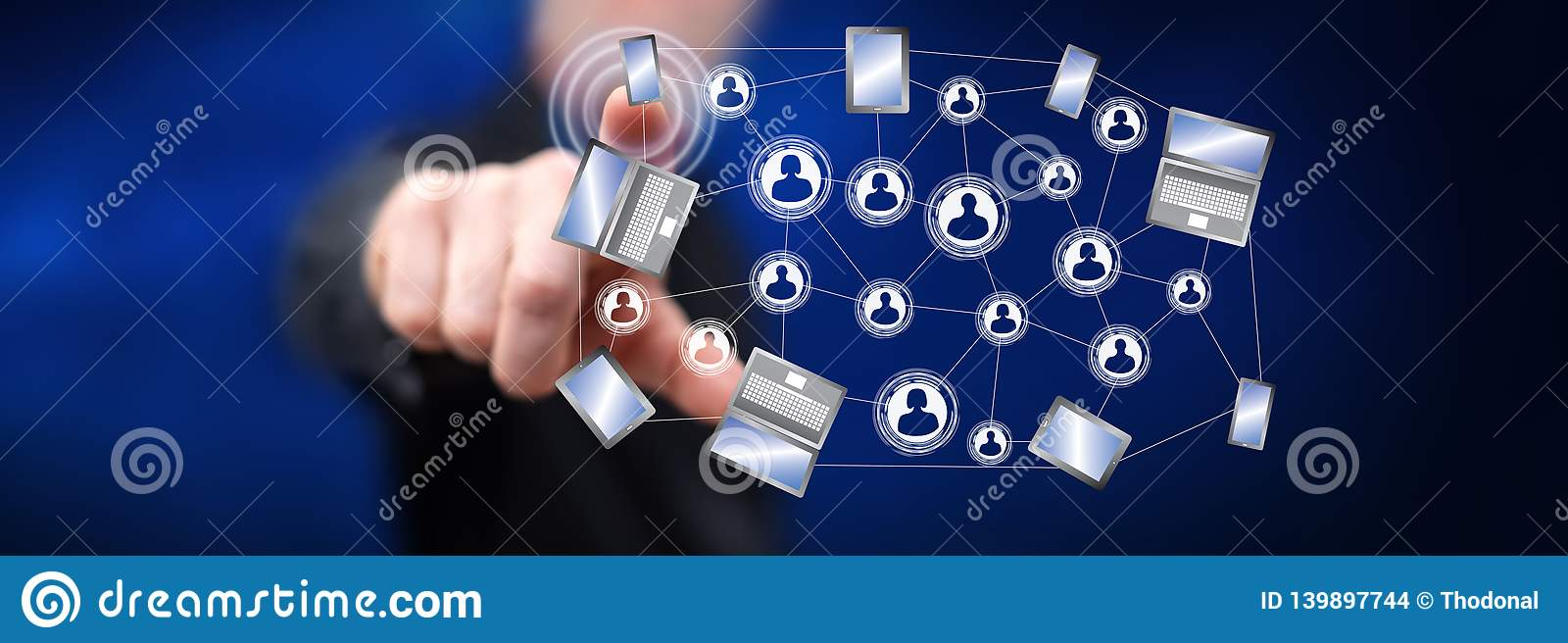 Man touching a social network connection concept