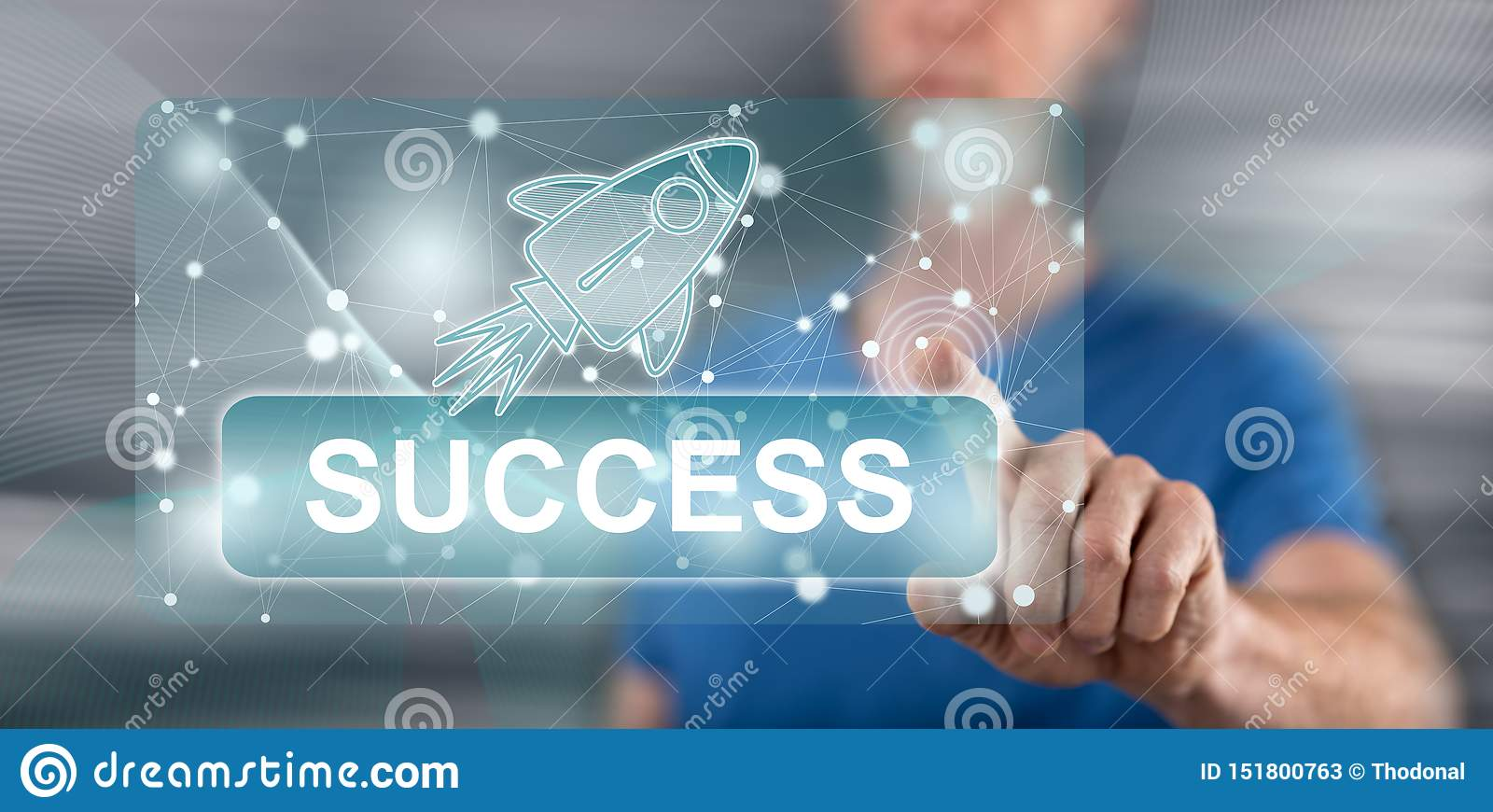 Man touching a success concept