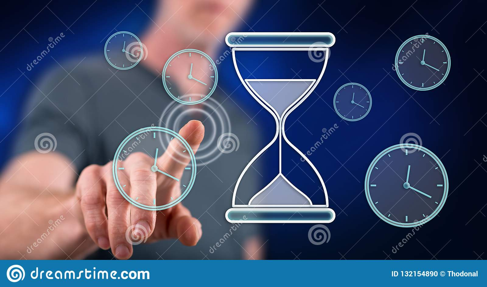 Man touching a time management concept
