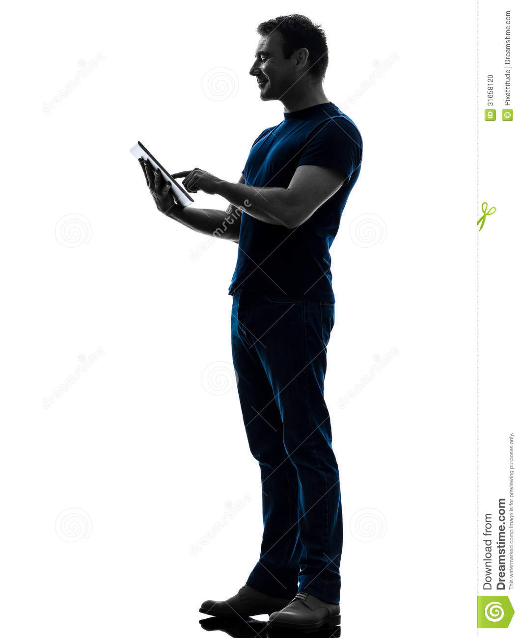 Man Touchscreen Digital Tablet Silhouette Stock Photo ...