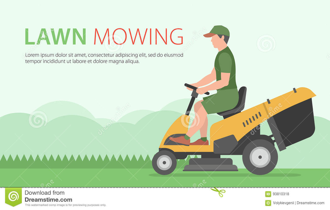 Man On Tractor Lawn Enforcment : Lawn mower man cartoons illustrations vector stock