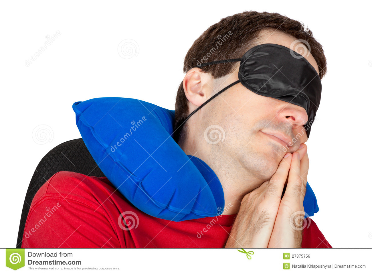 Man With Travel Neck Pillow And Sleeping Mask Royalty Free