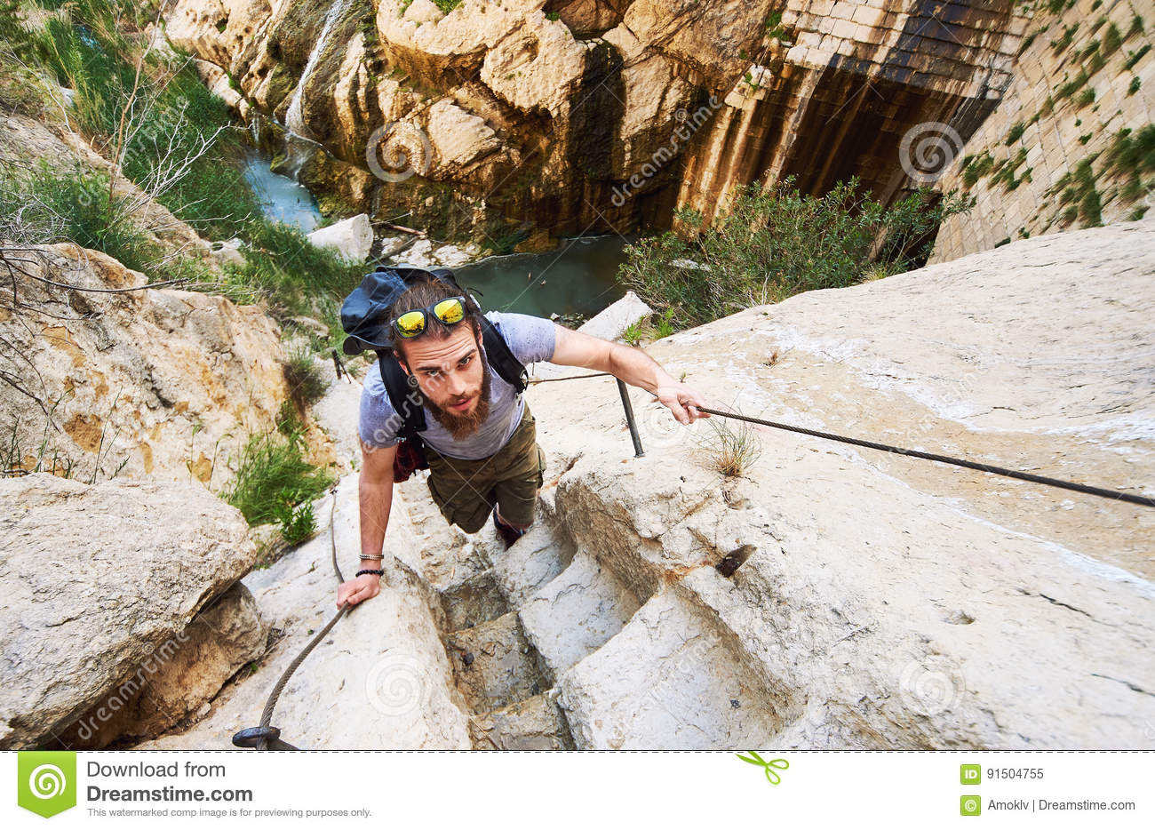 Download Man Traveler Climbing Up A Stepped Mountain Road. Spain Stock Image - Image of caucasian, alone: 91504755