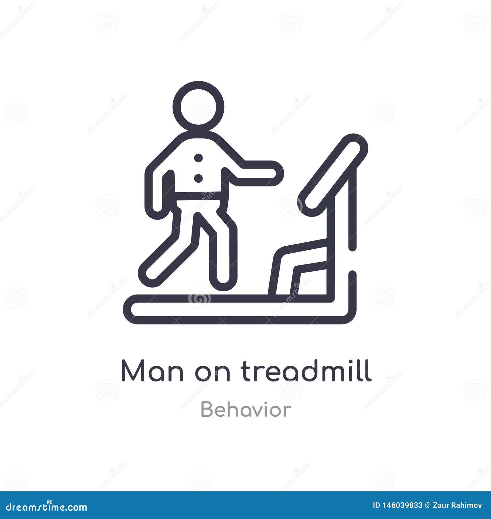 man on treadmill outline icon. isolated line vector illustration from behavior collection. editable thin stroke man on treadmill