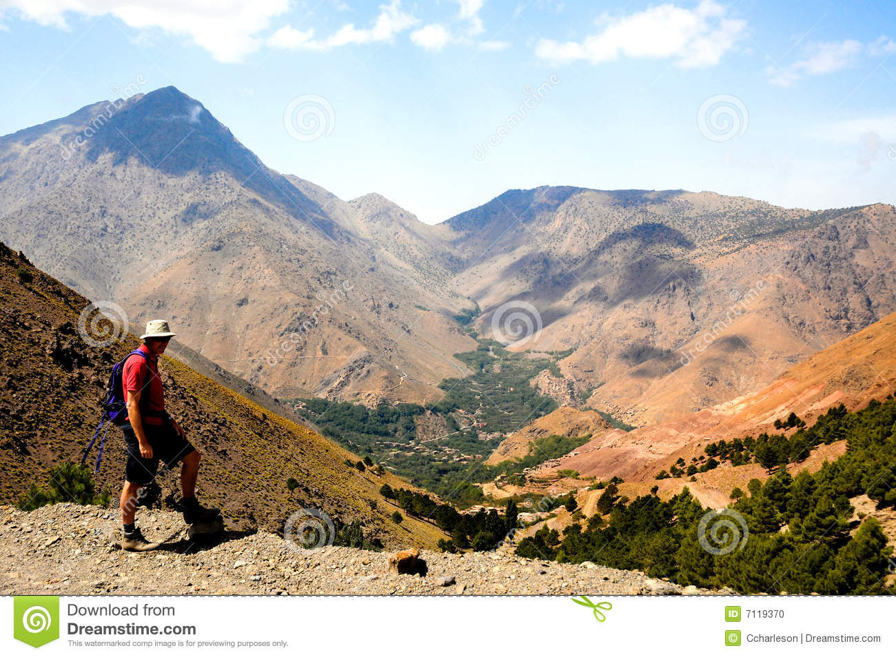 Man trekking in atlas mountains, morocco