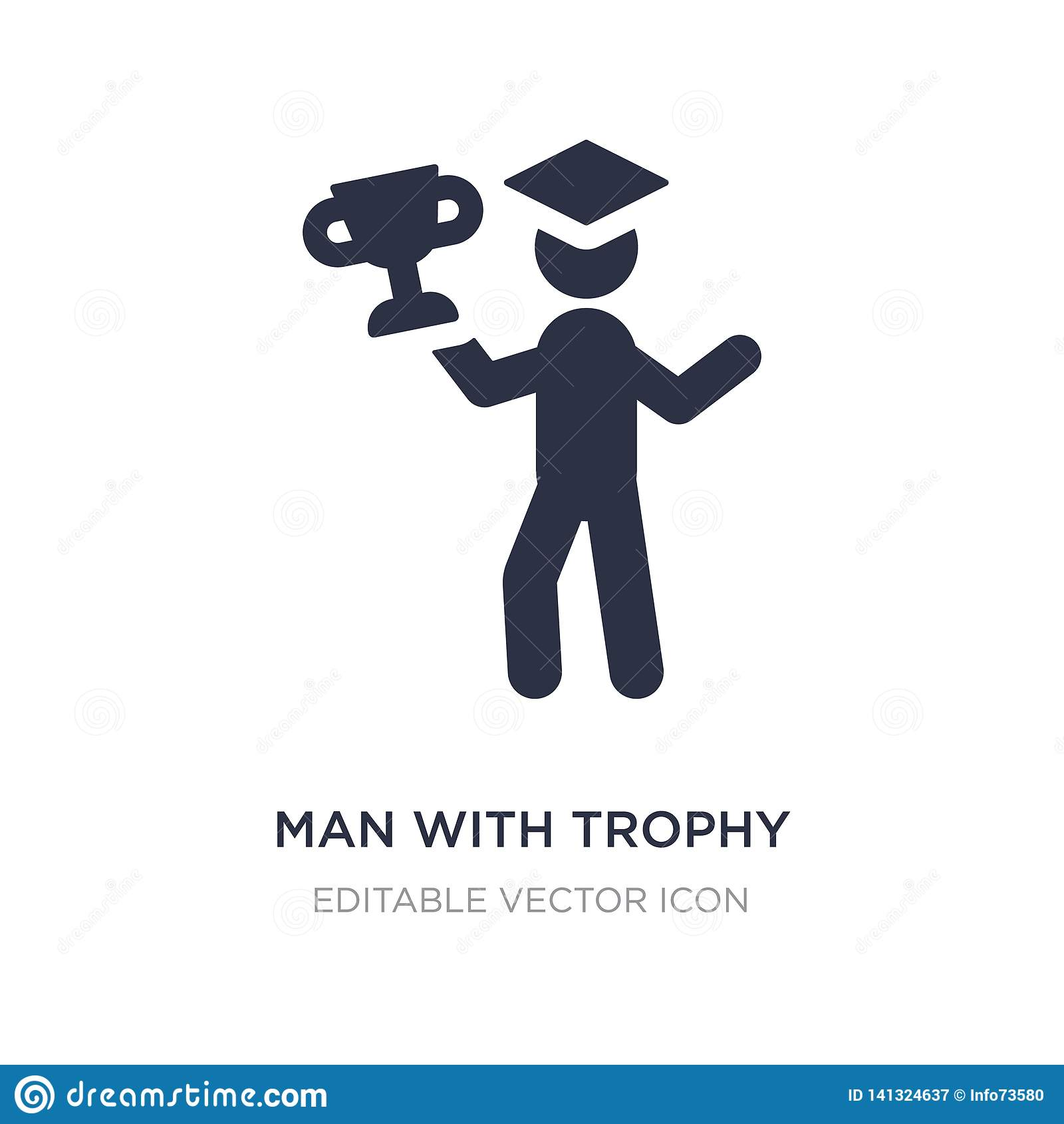 man with trophy icon on white background. Simple element illustration from Education concept