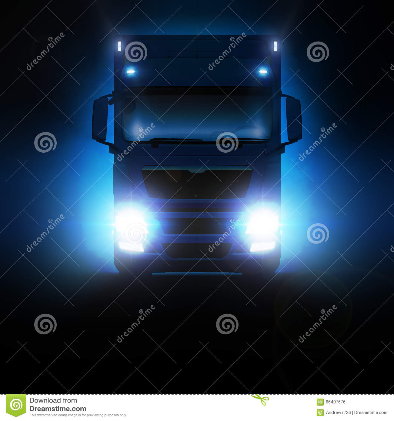 d039bf3af8 Man Truck Moving On The Highway At Night. Stock Photo - Image of ...
