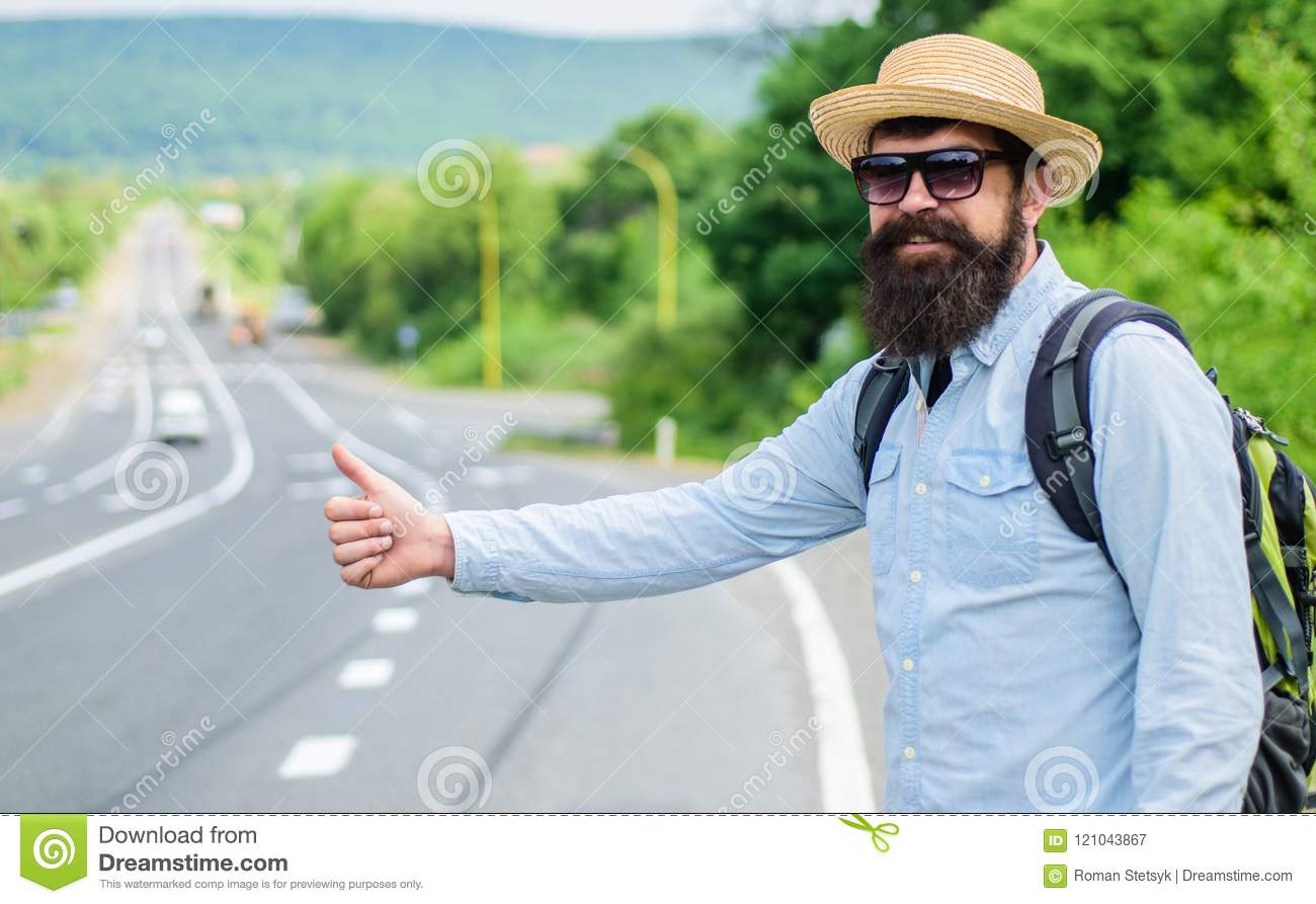 Man try stop car thumb up. Pick me up. Hitchhiking one of cheapest ways traveling. Picking up hitchhikers. Hitchhikers