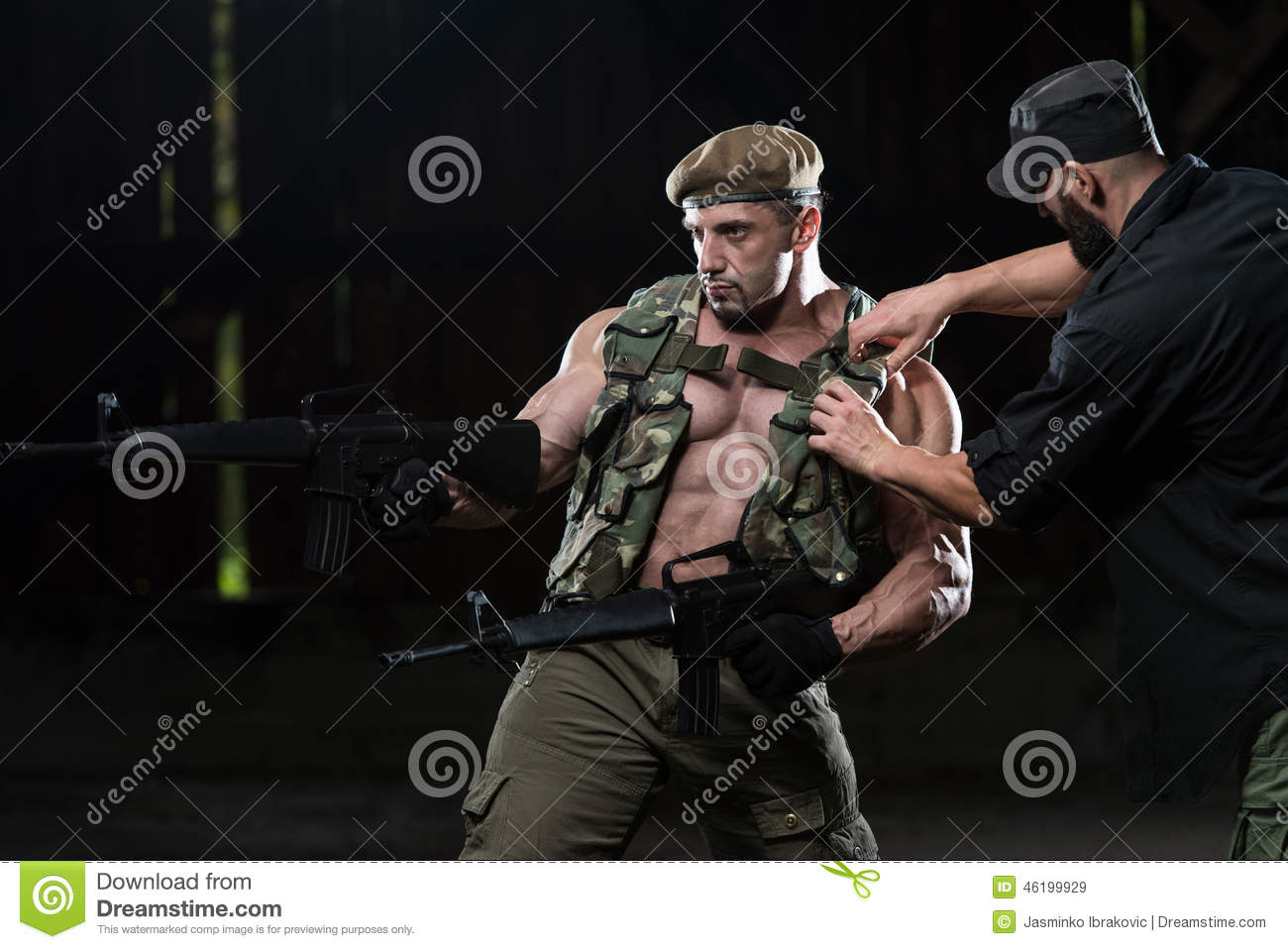 Man Tuning Armor On Soldier Befor Photoshoot Stock Image Image Of Bodybuilding Action 46199929