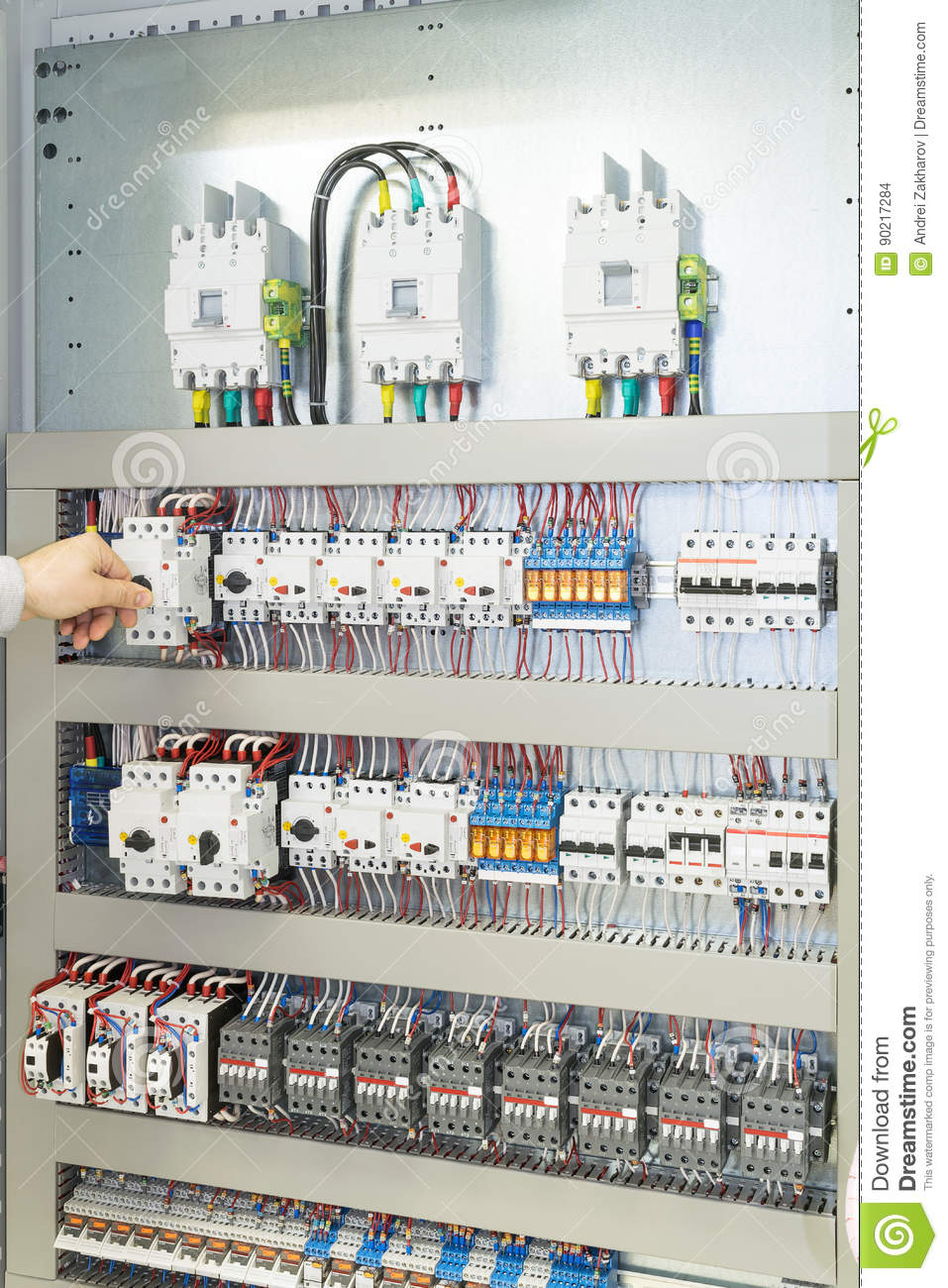 Circuit Breaker Cabinet Man Turns Off The Circuit Breaker Protecting The Motor Stock