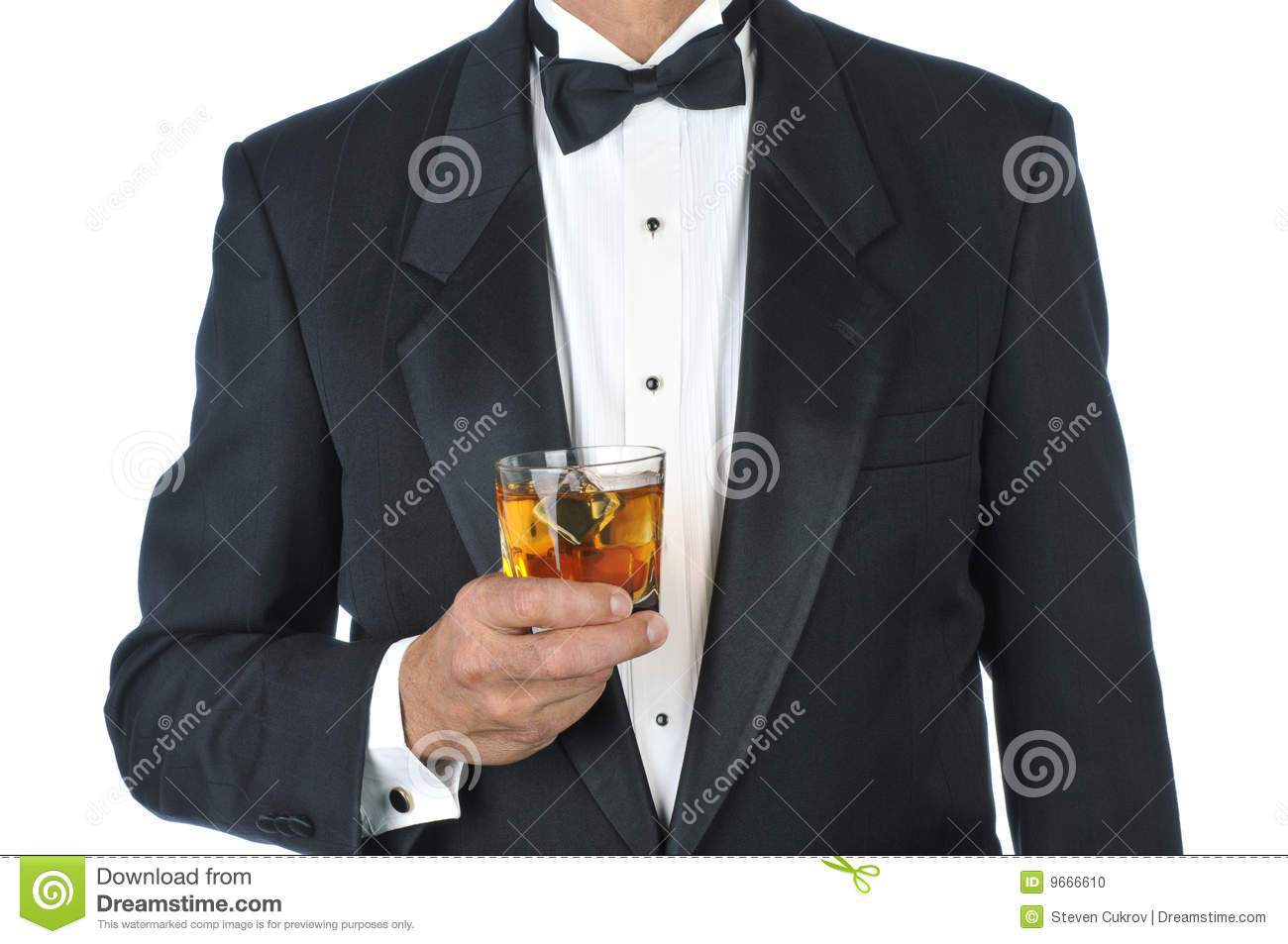Man Wearing Tuxedo Holding a Mixed Drink torso only isolated on white.