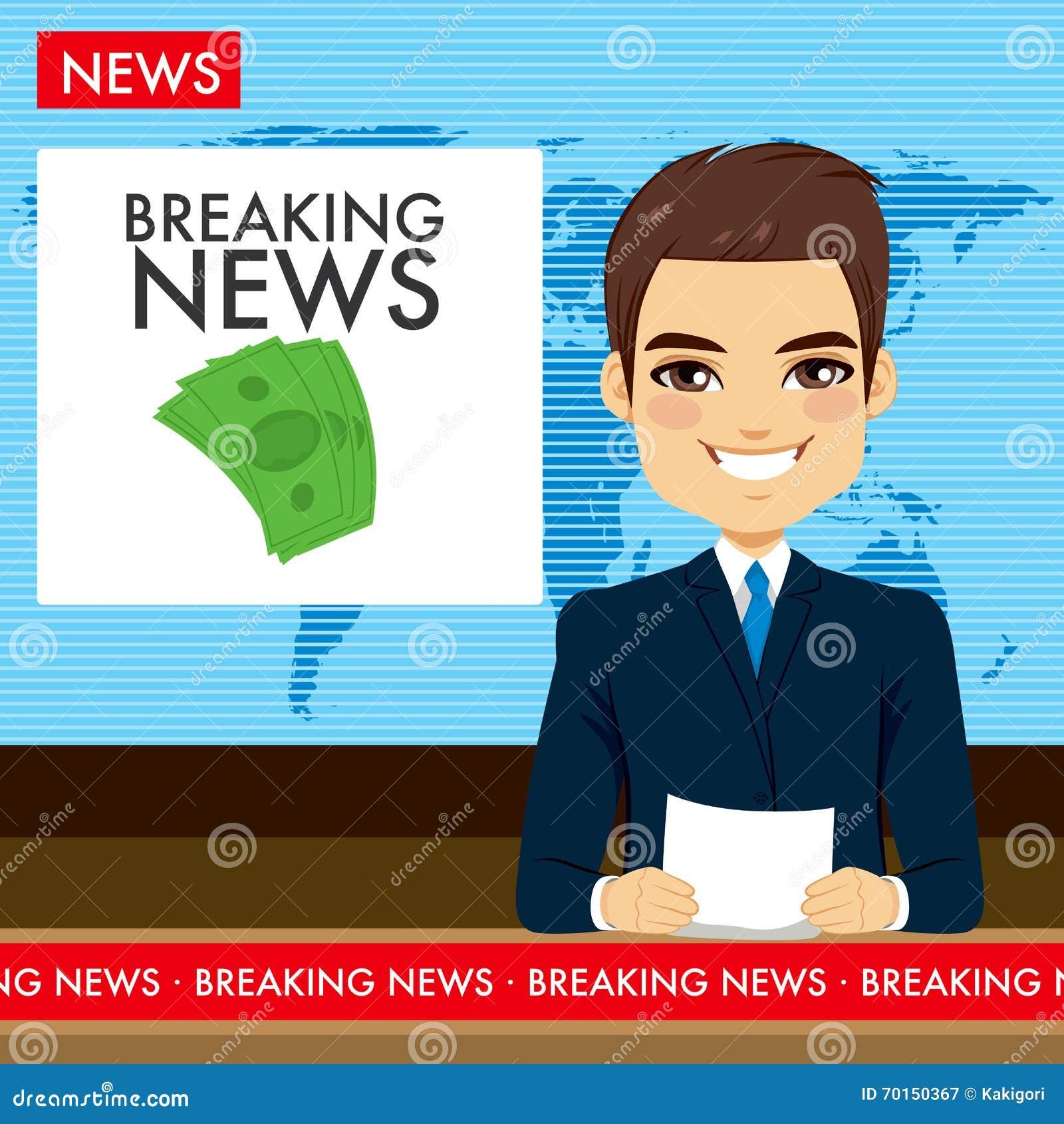 Man Tv Newscaster Stock Vector. Illustration Of Live