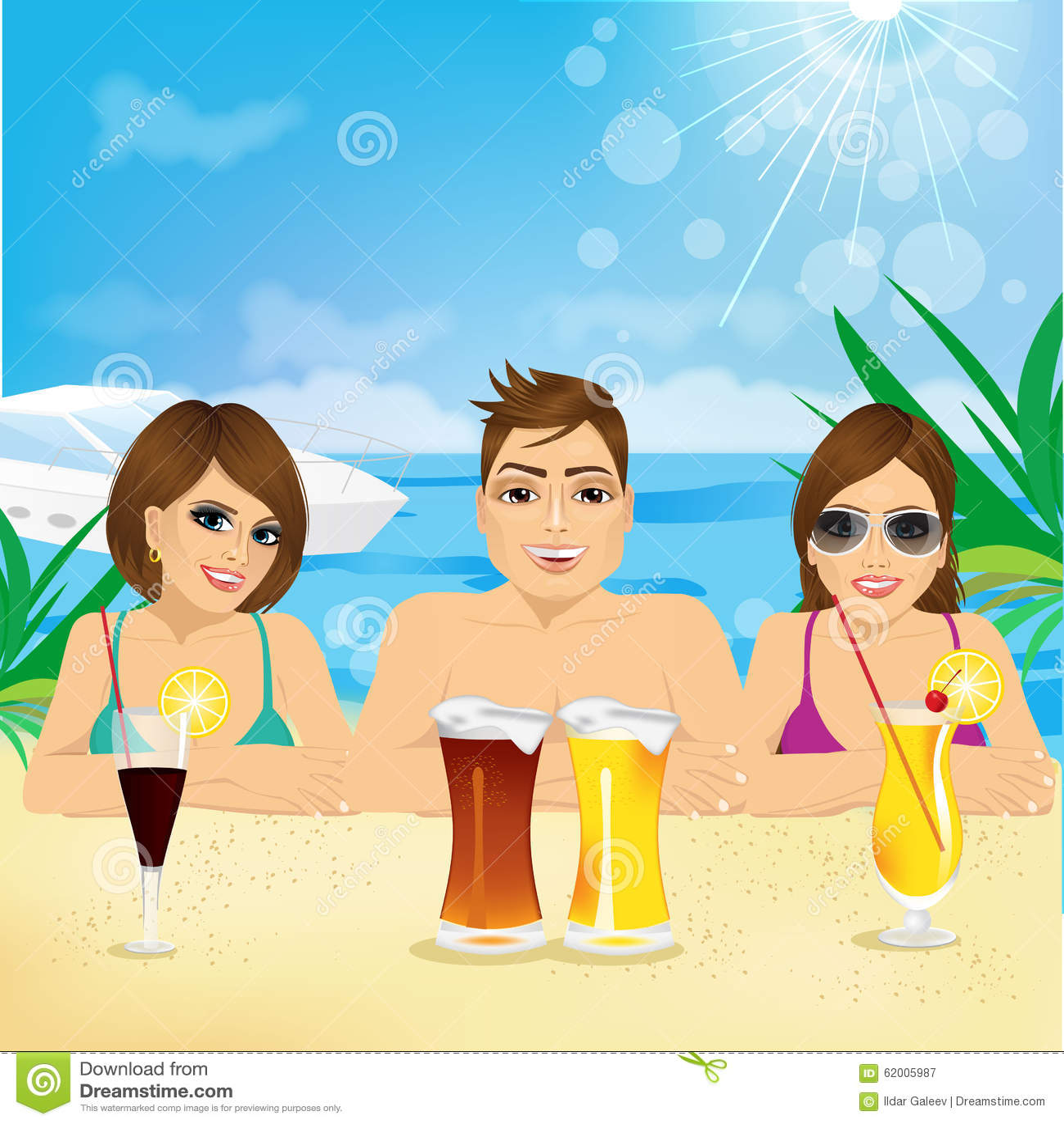 Woman Enjoying At Beach Stock Image Image Of Pleasure: Man And Two Woman Enjoying Beach Holiday Stock Vector