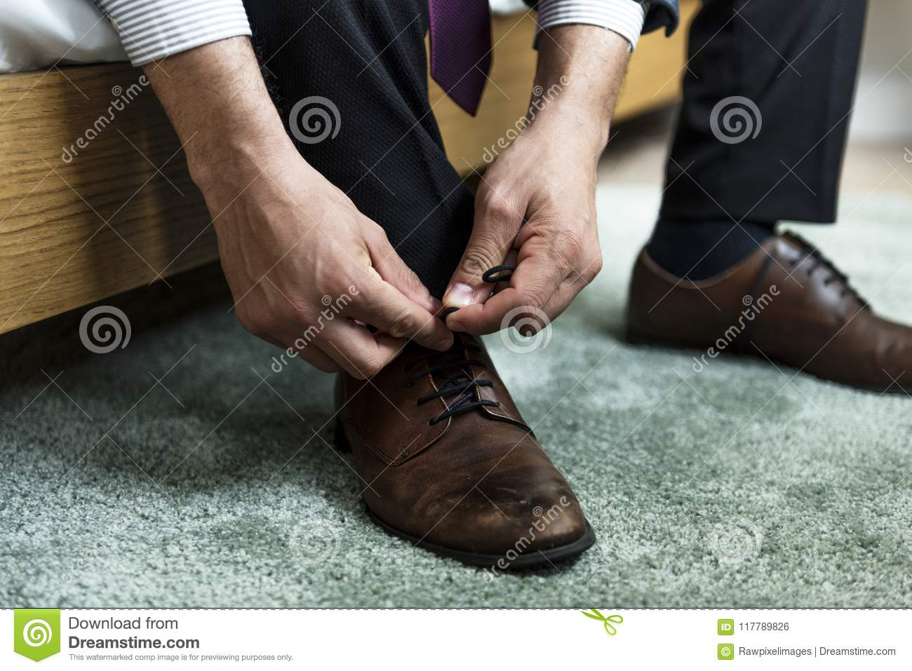 A Man Tying Shoe Lace Stock Photo Image Of Unlace Formal 117789826