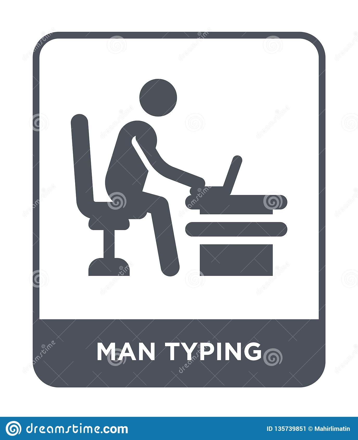 man typing icon in trendy design style. man typing icon isolated on white background. man typing vector icon simple and modern