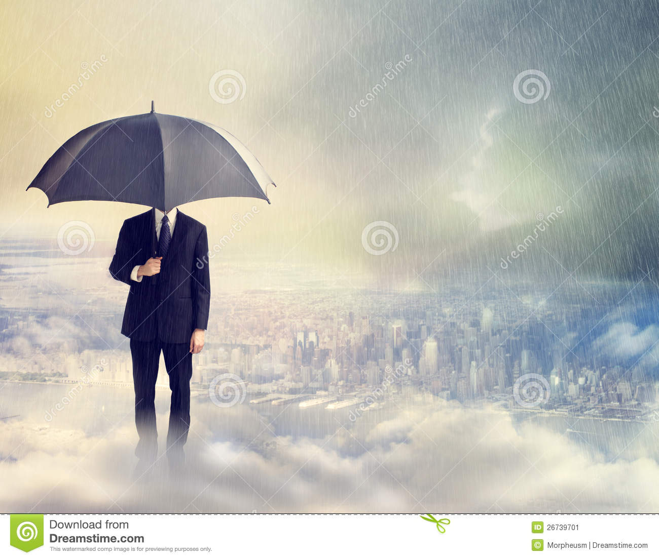 man with umbrella above the city stock image image of risk cloud