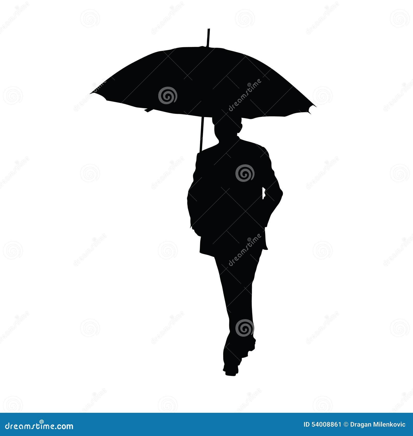 man with umbrella black silhouette stock vector image