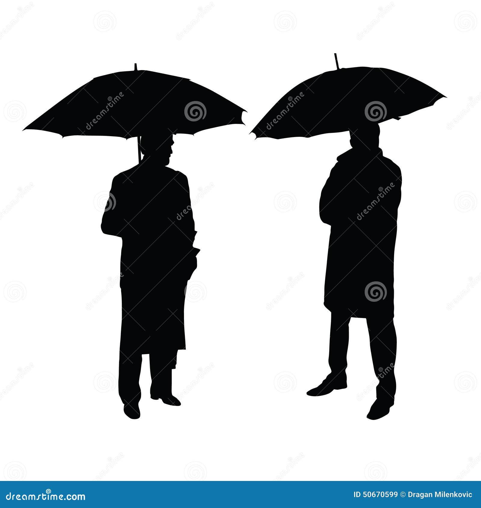 man with umbrella silhouette stock vector illustration