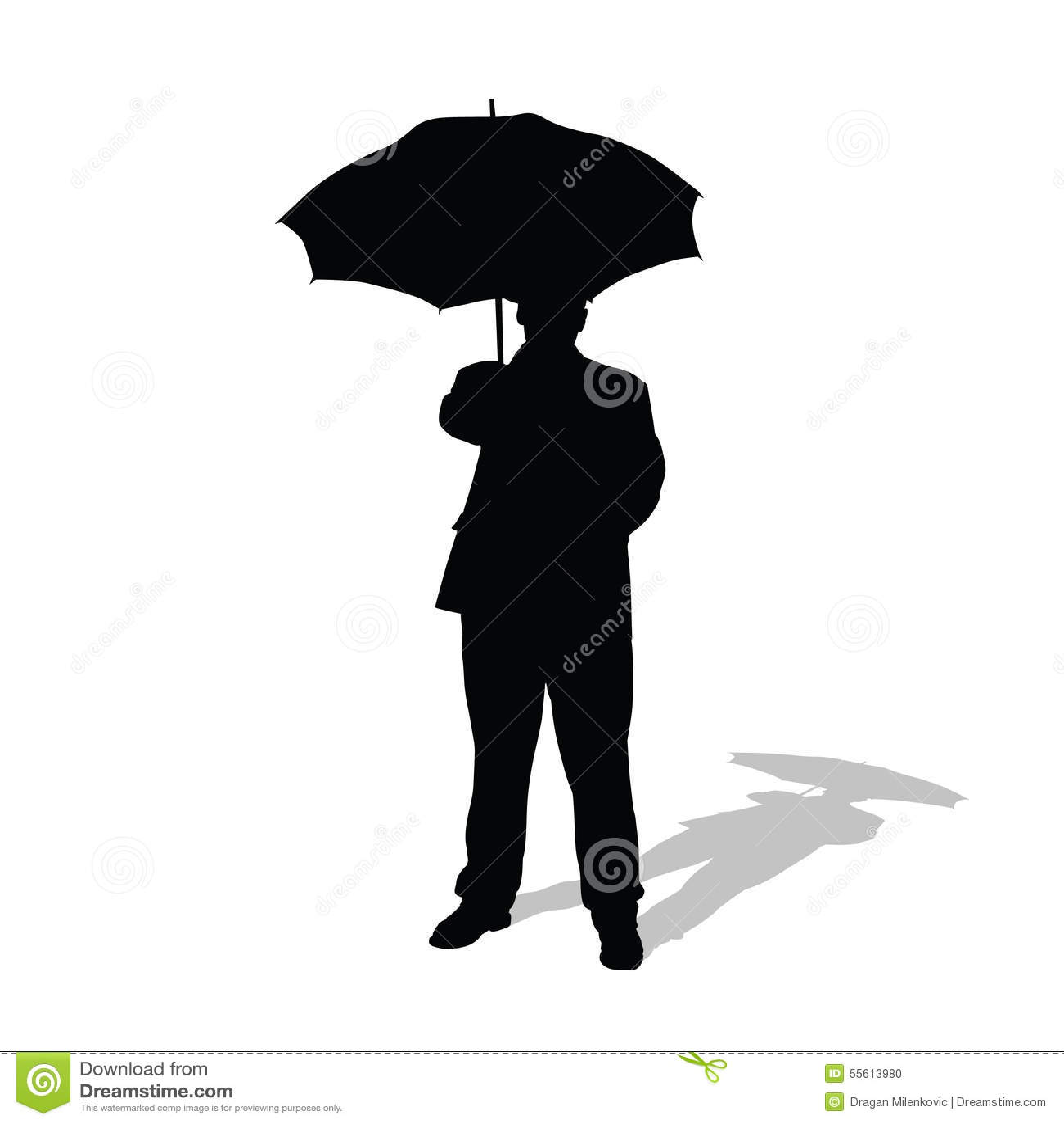 man with umbrella vector silhouette stock illustration