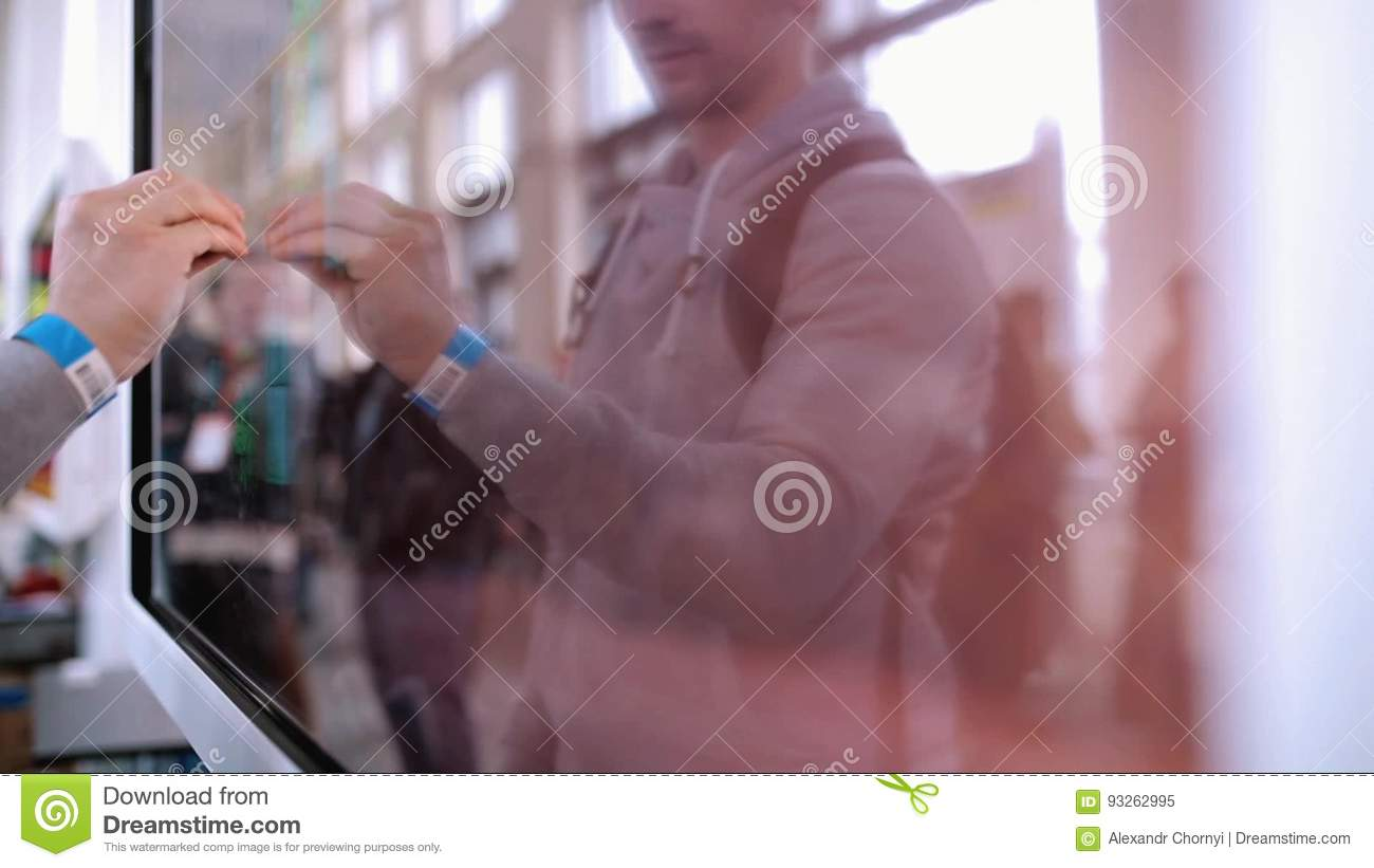 The Man Uses A Large Touch Screen Stock Video - Video of