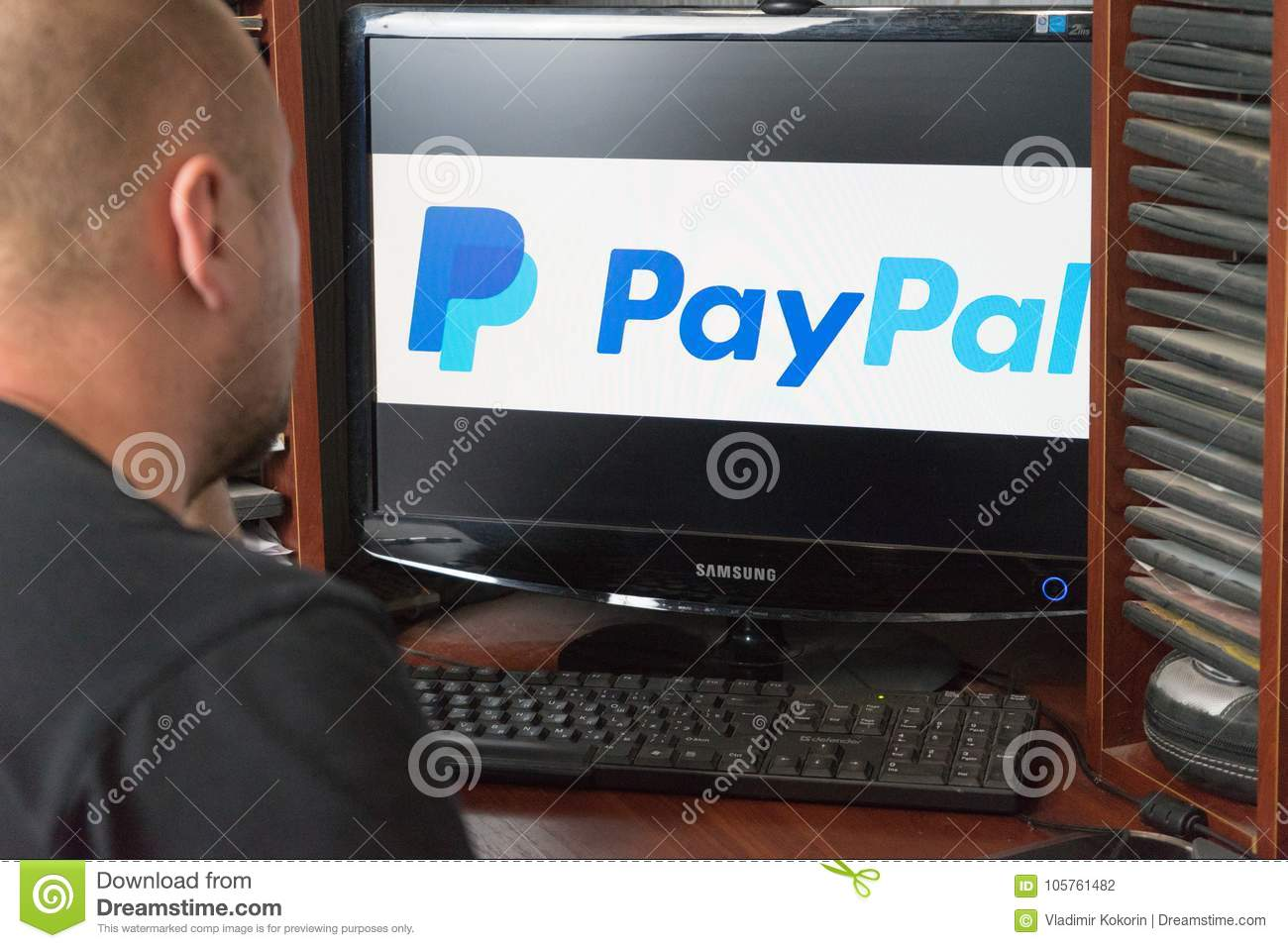 Belgorod, Russia - December 11, 2017: The Man Uses The PayPal