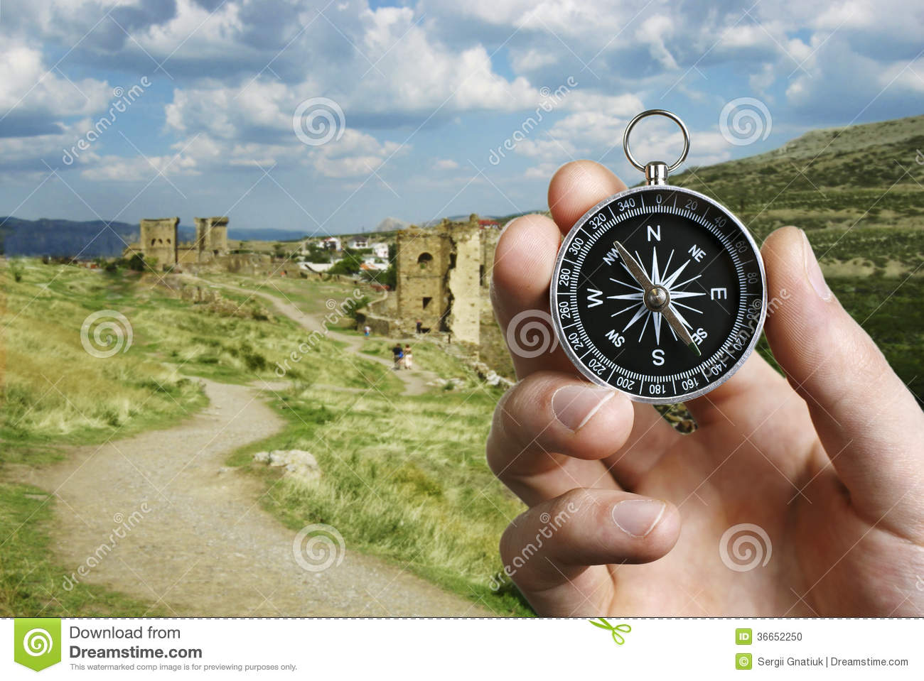 Man Using A Compass While Sightseeing Abroad Stock Photo ...