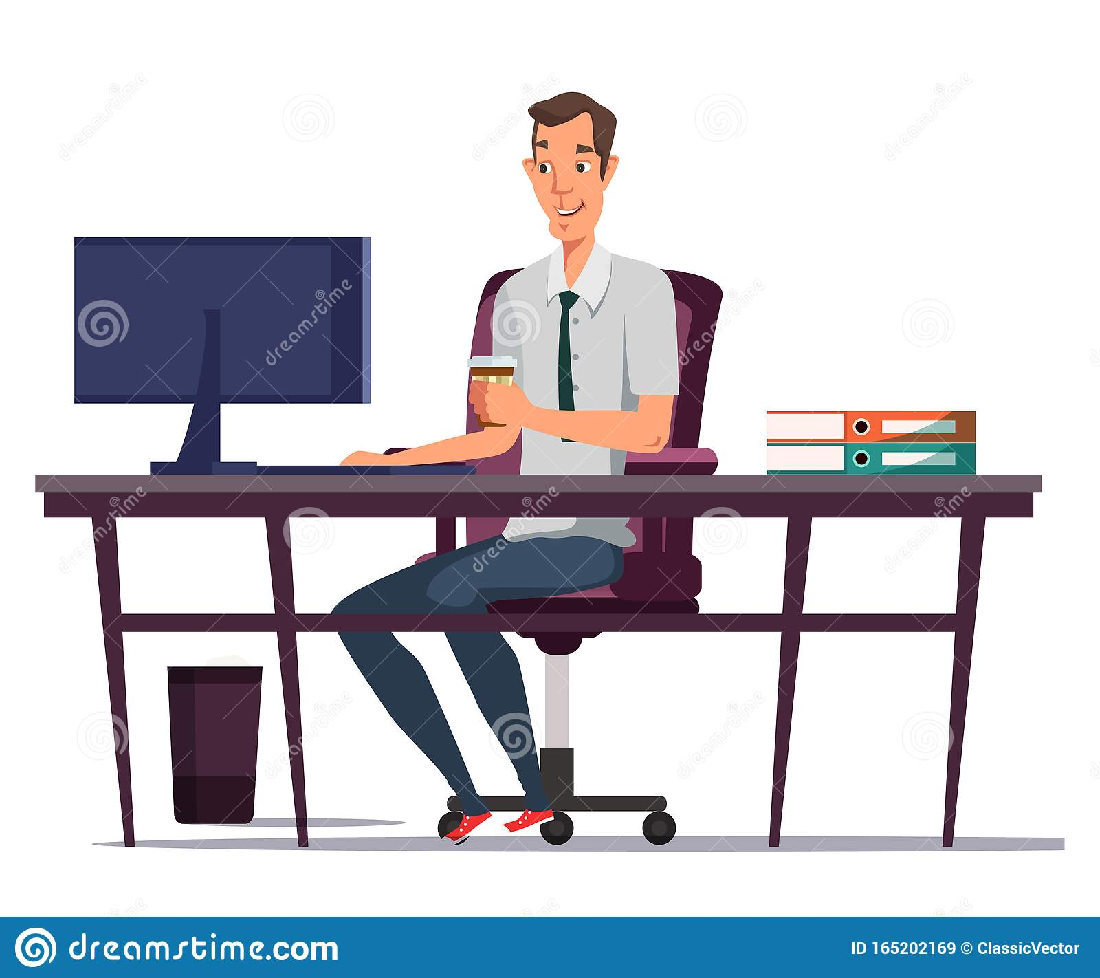 office worker doing paper work Royalty Free Vector Clip Art illustration  -vc029381-CoolCLIPS.com