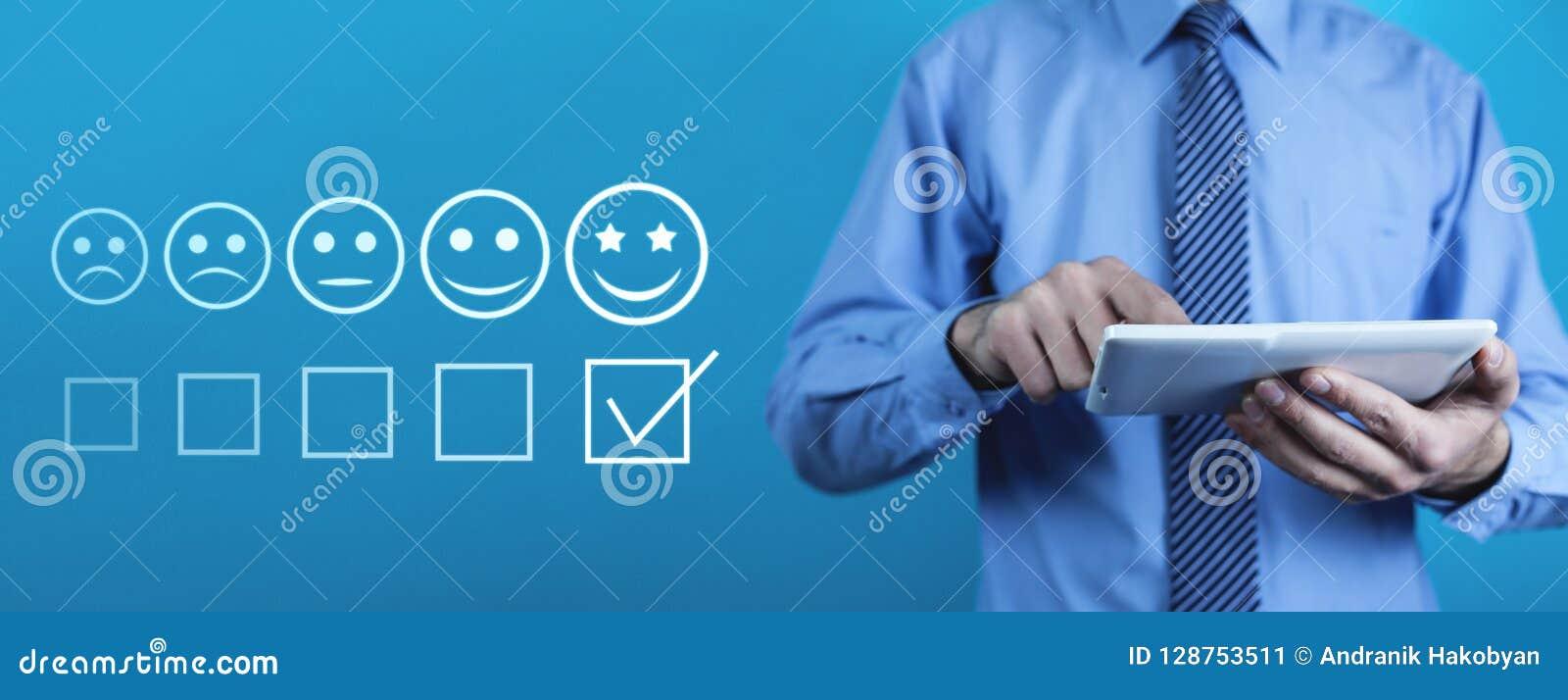 Man using digital tablet. Customer experience concept