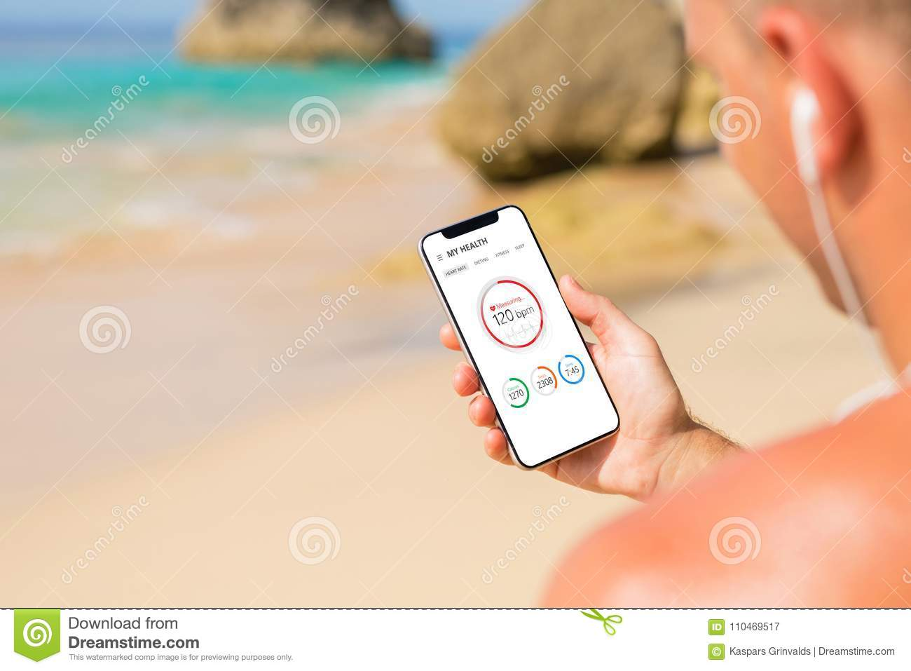 Man Using Health App On His Phone Stock Image - Image of smartphone