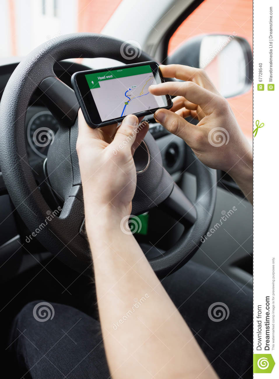 close up of man using smartphone while driving car royalty free stock photography. Black Bedroom Furniture Sets. Home Design Ideas
