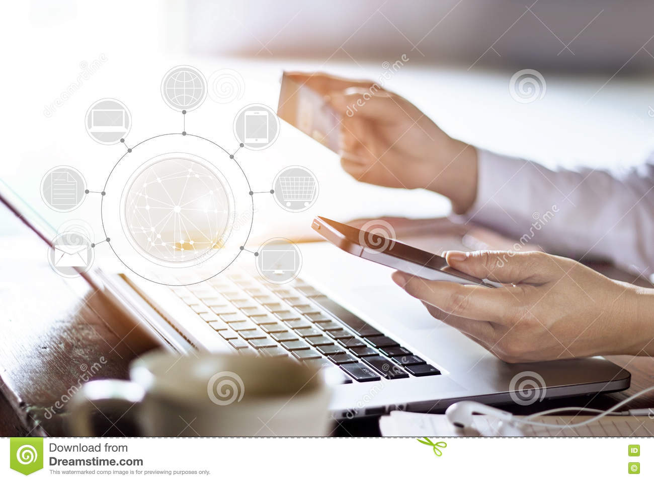 Man using mobile payments online shopping and icon customer network connection on screen