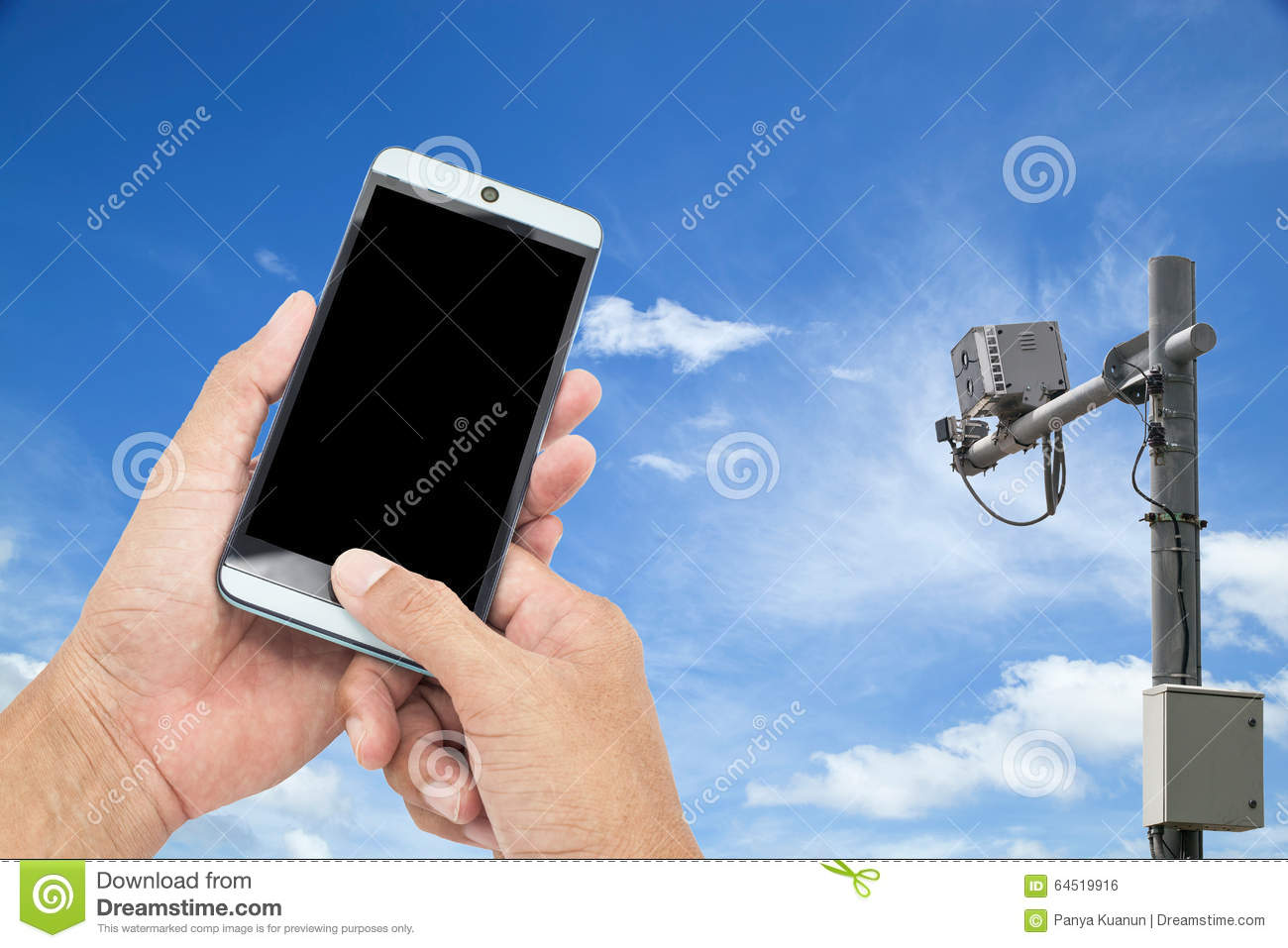 Man using mobile smart phone control out door CCTV camera. con & Man Using Mobile Smart Phone Control Out Door CCTV Camera. Con ... pezcame.com