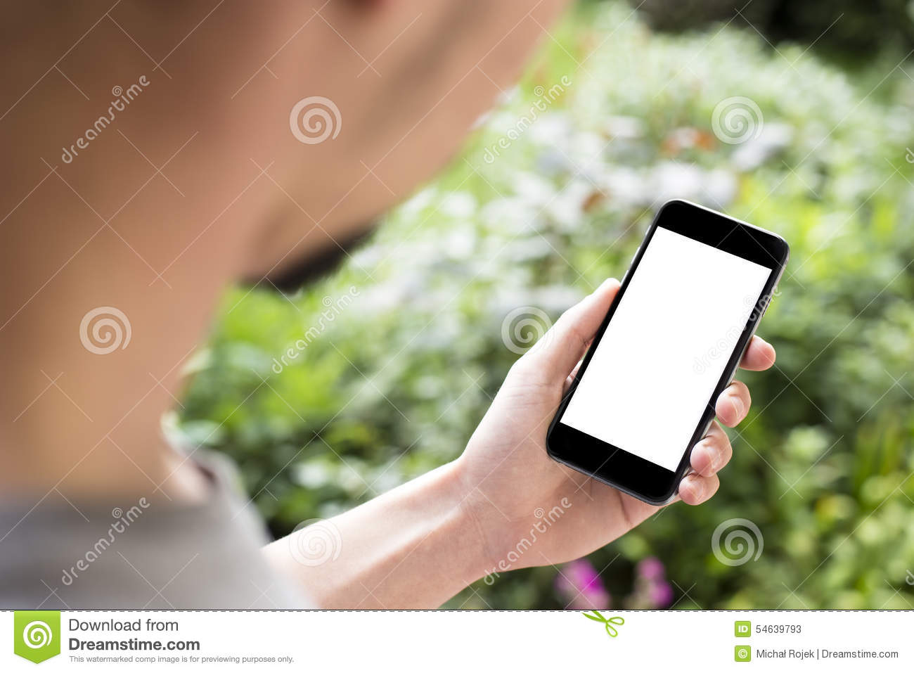 Man using mobile smartphone.
