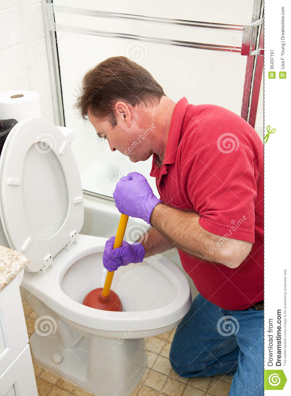 Man Using Plunger In Toilet Stock Image - Image of mature, plumber ...