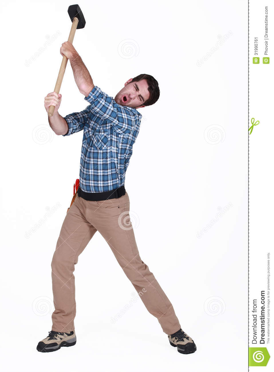 Man Using Sledge-hammer Stock Image - Image: 31990761